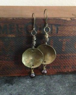 Brass Earrings with Pearls
